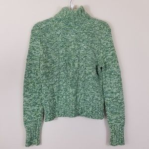EXPRESS GREEN CABLE KNIT SWEATER LONG SLEEVER, LG
